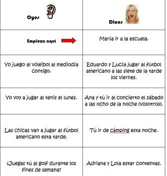 Spanish Realidades 1 4-A/4-B Oyes/Dices Game- Jugar, Ir, I