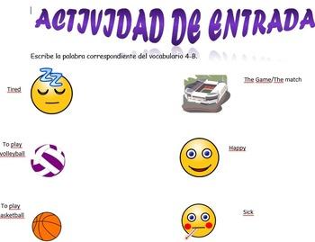Spanish Realidades 1 4-B Vocabulary Entry Activity with 10 Photos