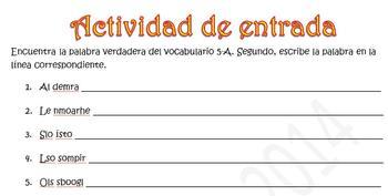 Spanish Realidades 1 5-A- Family- Word Scramble (10 words/