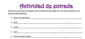 Spanish Realidades 1 5-B Word Scramble- Physical Descriptions (hair, eyes, etc.)