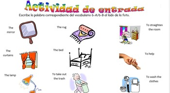 Spanish Realidades 1 6-A 6-B Vocabulary Entry Activity with 18 Pictures