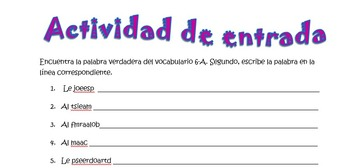 Spanish Realidades 1 6-A Vocabulary Word Scramble (10 words/phrases)