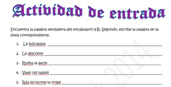 Spanish Realidades 1 6-B Vocabulary Word Scramble (10 words/phrases)