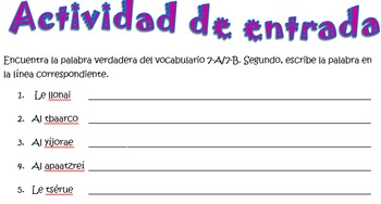Spanish Realidades 1 7-A/7-B Vocabulary Word Scramble (12 words/phrases)