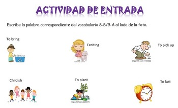 Spanish Realidades 1 8-B and 9-A Vocabulary Entry Activity with Photos