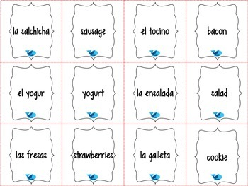 Spanish Realidades 1 Capítulo 3A Vocabulary ¡Pesca! (Go Fish) Game