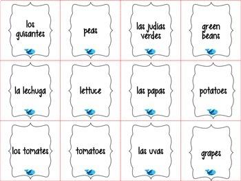 Spanish Realidades 1 Capítulo 3B Vocabulary ¡Pesca! (Go Fish) Game
