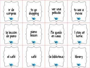Spanish Realidades 1 Capítulo 4A Vocabulary ¡Pesca! (Go Fish) Game