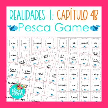 Spanish Realidades 1 Capítulo 4B Vocabulary ¡Pesca! (Go Fish) Game