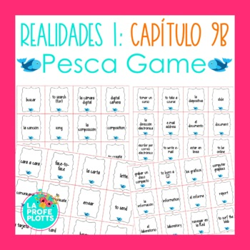 Spanish Realidades 1 Capítulo 9B Vocabulary ¡Pesca! (Go Fish) Game