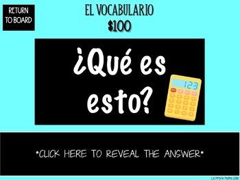 Spanish Realidades 1: Capítulos 2A & 2B Jeopardy-style Trivia Game