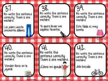 Spanish Realidades 1: Capítulos 7A & 7B Task Cards
