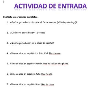Spanish Realidades 1 PE and 1A 11 Different Entry Activities