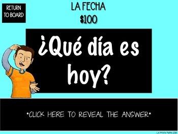 Spanish Realidades 1: Para Empezar Jeopardy-style Trivia Game