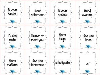 Spanish Realidades 1 Para Empezar Vocabulary ¡Pesca! (Go Fish) Game