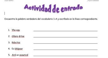 Spanish Realidades 2 1-A Vocabulary Word Scramble (11 words/phrases)