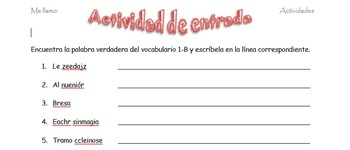 Spanish Realidades 2 1-B Vocabulary Word Scramble (11 words/phrases)