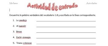 Spanish Realidades 2 1-B Vocabulary Word Scramble (11 word