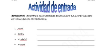 Spanish Realidades 2 (1A-8B) Bundle of 10 Scrambled Words Activities