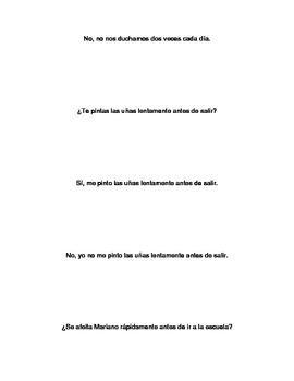 Spanish Realidades 2 2-A Reflexive Verb Grouping Sentences