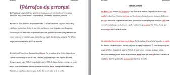 Spanish Realidades 2 2-A Reflexive Verb Paragraph Corrections