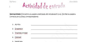 Spanish Realidades 2 2-A Vocabulary Word Scramble (11 Word