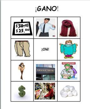 Spanish Realidades 2 2-B Bingo/¡Gano! Cards for Vocabulary Review