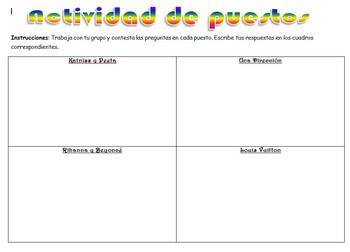 Spanish Realidades 2 2-B Station Activity to Practice Vocabulary