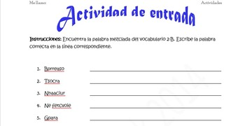 Spanish Realidades 2 2-B Vocabulary Word Scramble (11 Word