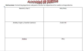 Spanish Realidades 2 3-A Station Activity to Practice Vocabulary & Preterite
