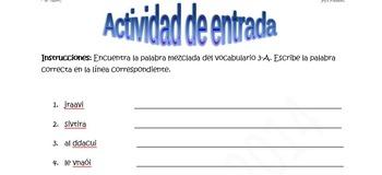 Spanish Realidades 2 3-A Vocabulary Word Scramble (10 words/phrases)