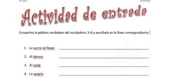 Spanish Realidades 2 3-B Vocabulary Word Scramble (11 phrases/words)