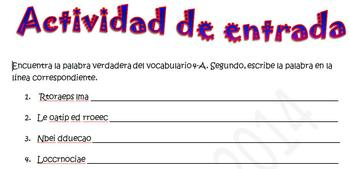 Spanish Realidades 2 4-A Vocabulary Word Scramble (10 words/phrases)