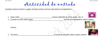 Spanish Realidades 2 4-A/4-B & Imperfect Entry Activity- Choose the Correct Verb