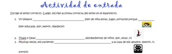 Spanish Realidades 2 4-A/B & Imperfect Entry Activity #2 Choose the Correct Verb