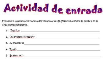 Spanish Realidades 2 4-B Word Scramble (11 words/phrases)