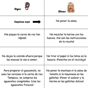 Spanish Realidades 2 7-A/7-B Oyes/Dices Conjugation Game to Practice Tú Commands