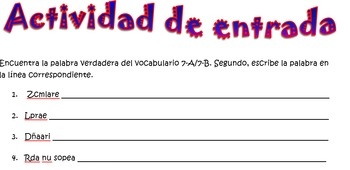 Spanish Realidades 2 7-A/7-B Vocabulary Word Scramble (11 words/phrases)