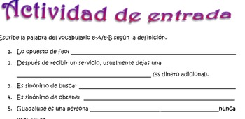 Spanish Realidades 2 8-A/8-B Riddles/Definitions Activity (15 phrases/riddles)