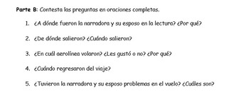 Spanish Realidades 2 8-A/8-B Vacation Reading Activity (2 Stories)