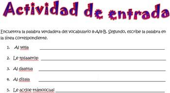 Spanish Realidades 2 8-A/8-B Vocabulary Word Scramble (12 words/phrases)