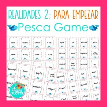 Spanish Realidades 2 Para Empezar Vocabulary ¡Pesca! (Go Fish) Game
