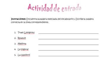 Spanish Realidades 3 Chapter 1 Scrambled Words Entry Activ