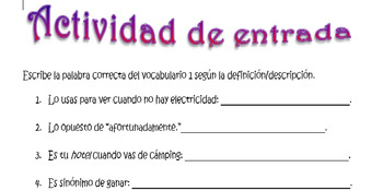 Spanish Realidades 3 Chapter 1 Vocabulary Practice with Definitions