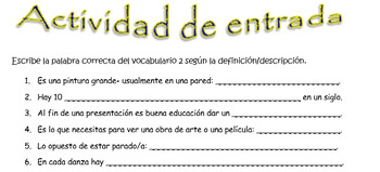 Spanish Realidades 3 Chapter 2 Vocabulary Practice with Definitions (21 words)