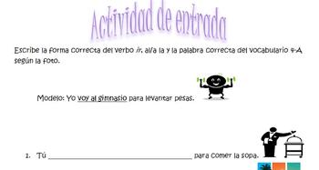"""Spanish Realidades 4-A Entry Activity with """"Ir"""" and vocabulary"""