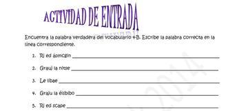 Spanish Realidades 4B Entry Activity- Word Scramble (10 Words/Phrases)
