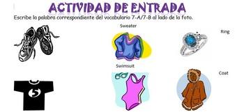 Spanish Realidades 7-A/7-B Vocabulary (Clothes) Entry Activity with Photos