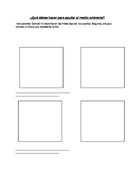 Spanish Realidades 1 8B Environment Worksheet