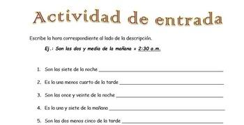 Spanish Realidades Para Empezar Time/La hora Entry Activity